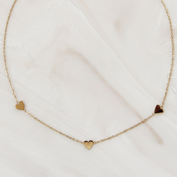 THREE HEART CHOKER / NECKLACE