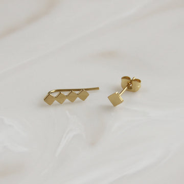 SQUARE CLIMBER AND STUD EARRING SET