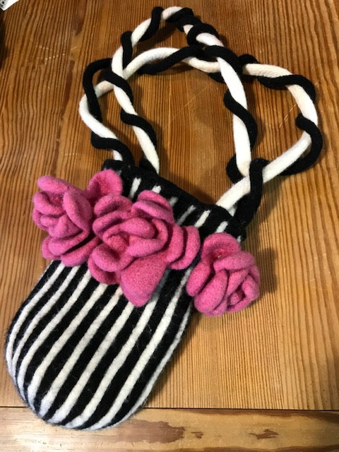 Felted Black and white Bag with Pink Flowers