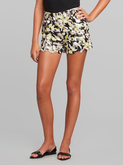 Electra High-Waisted Scalloped Shorts