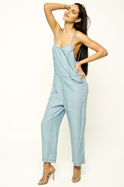 Styx Criss-Cross Denim Jumpsuit