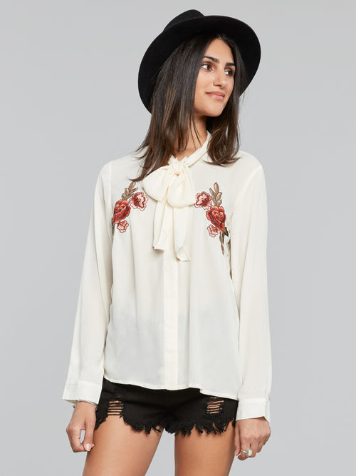 Meesa Front Tie Embroidered Blouse