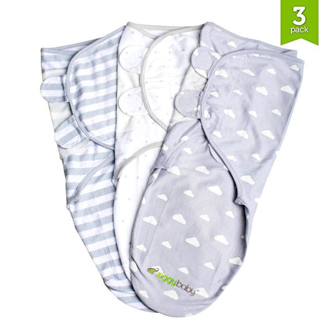 Swaddle Blanket Adjustable Infant Baby Wrap Set 3 Pack Grey Cloud Stripe, Stars