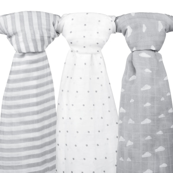3 Pack Grey Cloud, Stripe & Stars Muslin Swaddle Blanket