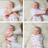 Baby Swaddle Blanket Wrap Set 3 Pack- Pink Peony, Pink Heart, Pink Buffalo Plaid