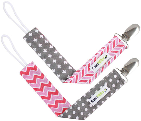 Pacifier Clip Girl (2 Pack) Ziggy Baby 2-Sided Design Pacifier Holder