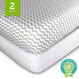 Toddler Bedding Fitted Jersey Cotton (2 Pack) Grey Polka Dot, Chevron