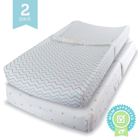 Changing Pad Cover Cradle Bassinet Sheets Fitted Jersey Cotton 2 Pack Blue/Grey