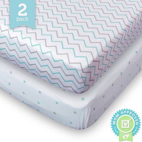 Crib Sheets Toddler Bedding Fitted Jersey Cotton 2 Pack Chevron Cross Blue/Grey