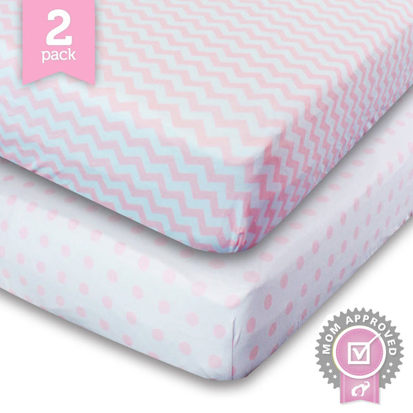 Toddler Bedding Fitted Jersey Cotton (2 Pack) Pink Polka Dot, Chevron