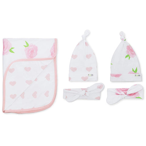 Ziggy Baby Peony & Heart 5 Piece Blanket, Hat and Headband Collection Pink White