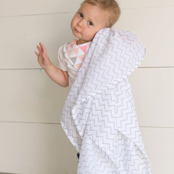 Baby Muslin Swaddle Blankets, 47x47 3 Pack Chevron, Arrow, Cross, Grey/White