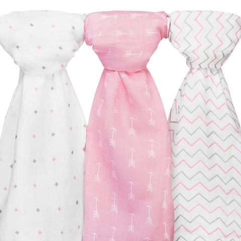 Muslin Baby Swaddle Blankets Girls, 47x47 (3 Pack) Grey, Pink Chevron, Arrow, Cross
