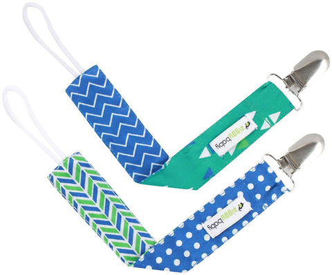 Pacifier Clip Boy, Girl (2 Pack) Ziggy Baby 2-Sided Design Pacifier Holder