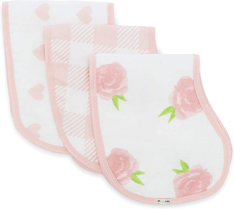 Muslin Burp Cloths, Burpy Bib Set (3 Pack) Pink Peony, Heart and Buffalo Plaid
