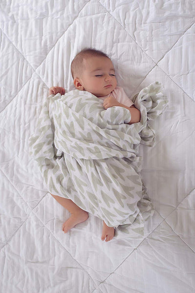 Bamboo Muslin Swaddle Blankets Large 47x47-3 Pack with Scandinavian Hand-Drawn