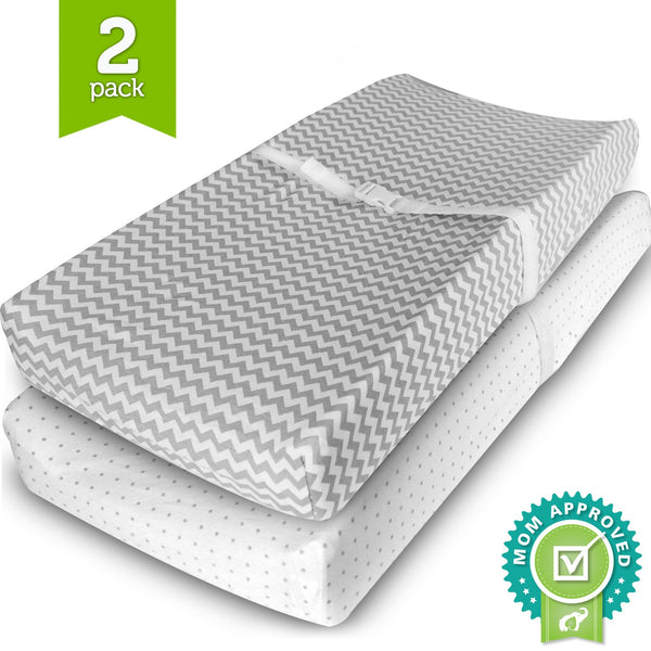 Changing Pad Cover Cradle Bassinet Sheets Fitted Jersey Cotton 2 Pack Grey/White
