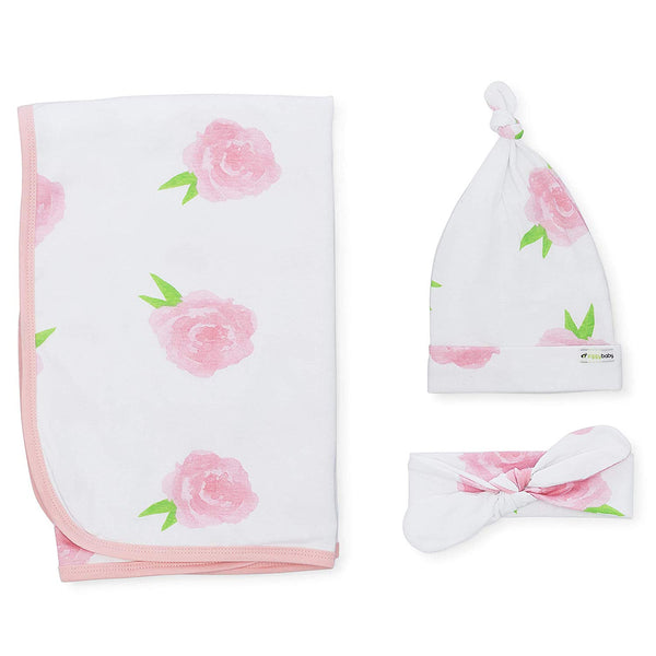 Peony & Heart 5 Piece Blanket, Hat and Headband Collection Pink White