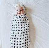 Muslin Baby Swaddle Blankets, 47x47 (3 Pack) Black, White, XO, Stripe, Cross