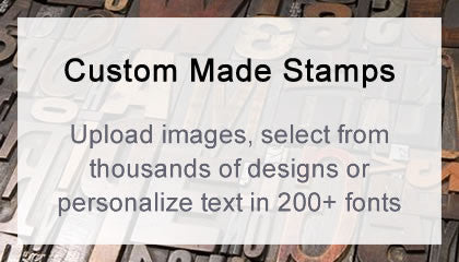 Custom made stamps - upload images, select from thousands of designs or personalize text