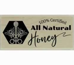 "100% Certified All Natural Honey Stamp - 2"" X 1"" - Stamptopia"