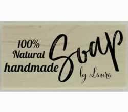"100% Natural Handmade Soap Customized Stamp - 3"" X 1.5"" - Stamptopia"