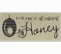 "100% Raw And All Natural Honey Stamp - 2"" X 1"" - Stamptopia"