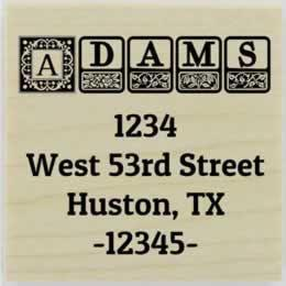 "Adams Ornamental Block Return Address Stamp - 1.5"" X 1.5"" - Stamptopia"