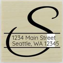 "Address Through Monogram Stamp - 1.5"" X 1.5"" - Stamptopia"