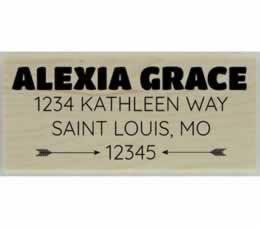 "Alexia Arrow Custom Address Stamp - 2.5"" X 1.25"" - Stamptopia"