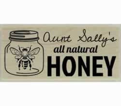 "All Natural Honey With Bee In Jar Stamp - 2"" X 1"" - Stamptopia"