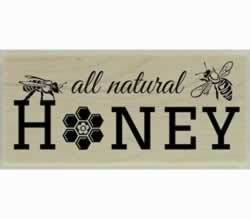 "All Natural Honey With Honey Bees Stamp - 2"" X 1"" - Stamptopia"