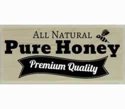 "All Natural Pure Honey With Bee Stamp - 2"" X 1"" - Stamptopia"