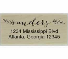 "Anders Floral Calligraphy Address Stamp - 2.5"" X 1.25"" - Stamptopia"