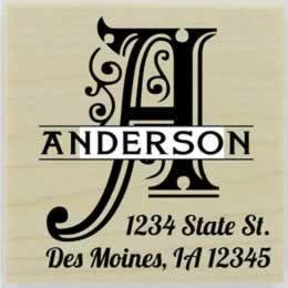 "Anderson Decorative Monogram Return Address Stamp - 1.5"" X 1.5"" - Stamptopia"