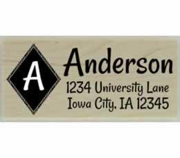 "Anderson Diamond Monogram Return Address Stamp - 2.5"" X 1"" - Stamptopia"