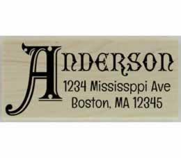 "Anderson Monogram Name Address Stamp - 2.5"" X 1"" - Stamptopia"