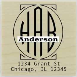 "Anderson Round Monogram Name Address Stamp - 1.5"" X 1.5"" - Stamptopia"