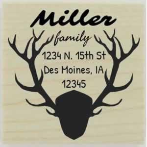 "Antler Plaque Border Address Stamp - 1.5"" X 1.5"" - Stamptopia"