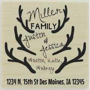 "Antler Set Return Address Stamp - 1.5"" X 1.5"" - Stamptopia"