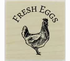 "Arched Fresh Eggs And Chicken Rubber Stamp - 1.5"" X 1.5"" - Stamptopia"