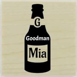 "Beer Bottle Monogram Rubber Stamp - 1.5"" X 1.5"" - Stamptopia"