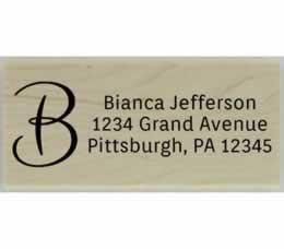 "Bianca Calligraphy Monogram Address Stamp - 2.5"" X 1"" - Stamptopia"