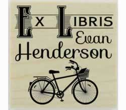 "Bicycle Ex Libris Library Stamp - 1.5"" X 1.5"" - Stamptopia"