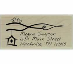"Birdhouse On Branch Return Address Stamp - 2.5"" X 1.25"" - Stamptopia"