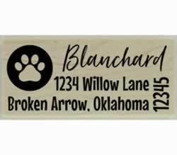 "Blanchard Dog Paw Print In Circle Address Stamp - 2.5"" X 1"" - Stamptopia"