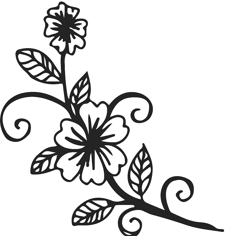 Blooming Flowers On Vine Rubber Stamp - Stamptopia