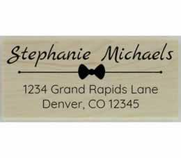 "Bow Design Return Address Stamp - 2.5"" X 1.25"" - Stamptopia"