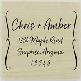 "Bracket Border Address Stamp - 1.5"" X 1.5"" - Stamptopia"