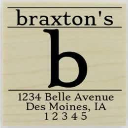 "Braxton Monogram Return Address Stamp - 1.5"" X 1.5"" - Stamptopia"
